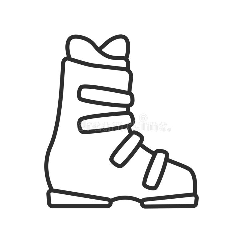 Flat Ski Boot Icon Outline Vector Illustration Stock Vector