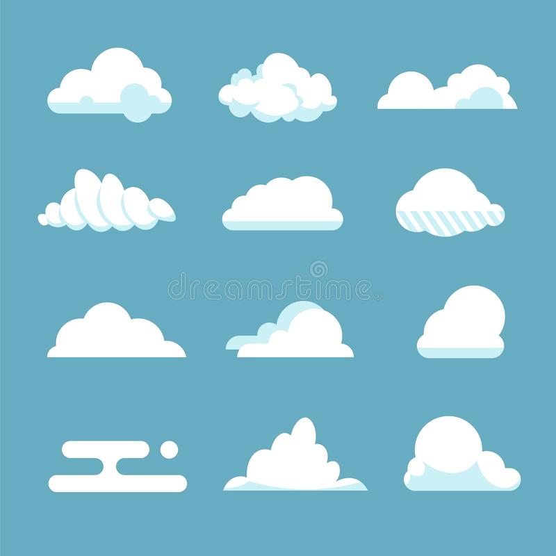 Flat sky cloud. Blue fluffy cartoon shapes white atmosphere cloudy elements vintage abstract overcast. Vector clouds. Set stock illustration