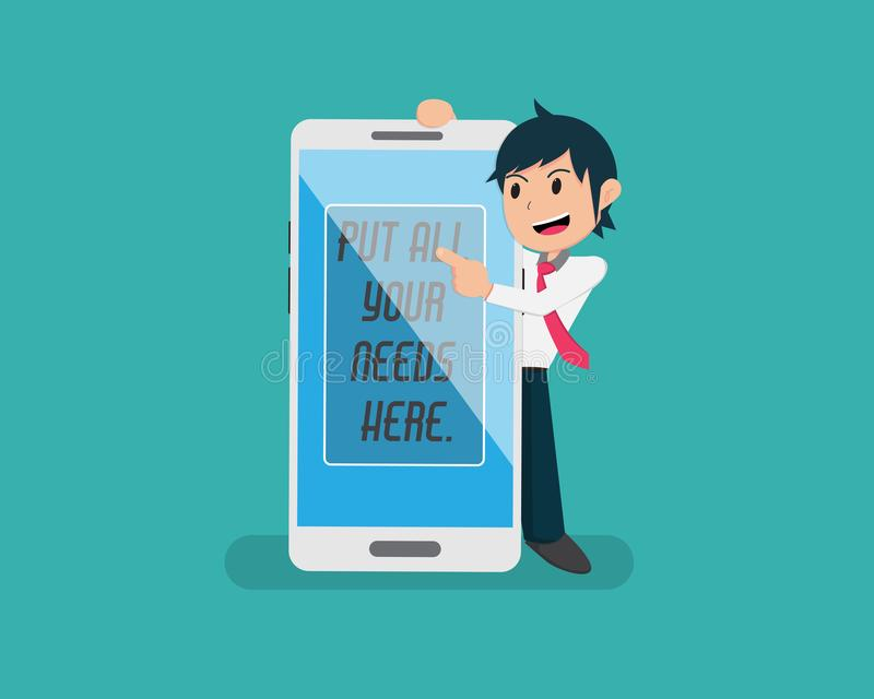 Flat Smart Phone And Alarm Siren LightMan Holding Big Smart Phone And Point to key message vector illustration