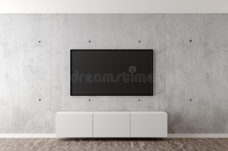 Flat smart tv panel on concrete wall with white sideboard and brown wooden floor - entertainment, media or home television set. Flat smart tv panel on concrete vector illustration