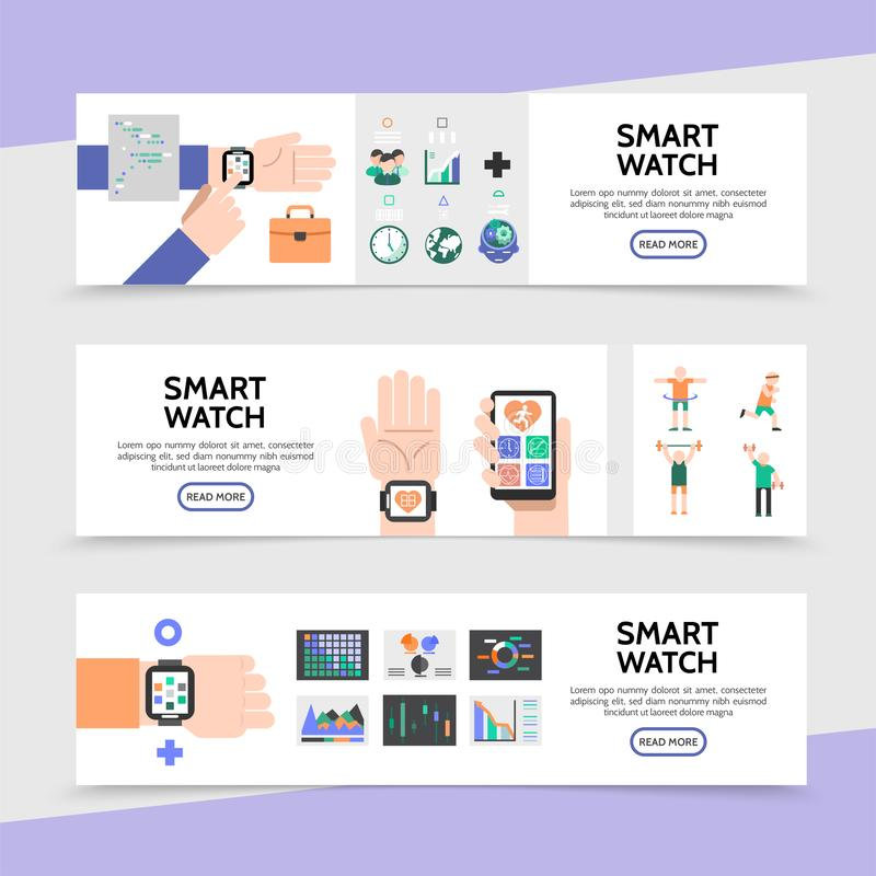 Flat Smart Watch Horizontal Banners royalty free illustration