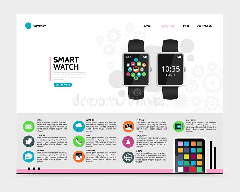 Flat Smart Watch Landing Page Concept royalty free illustration