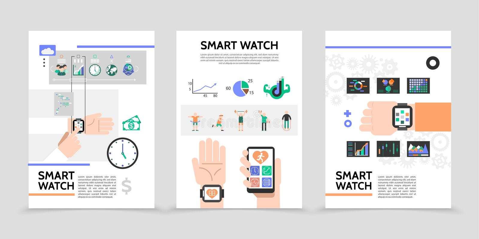 Flat Smart Watch Posters royalty free illustration