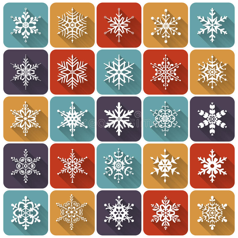 Free Flat Snowflakes. Vector Icons Set. Royalty Free Stock Photo - 47568375