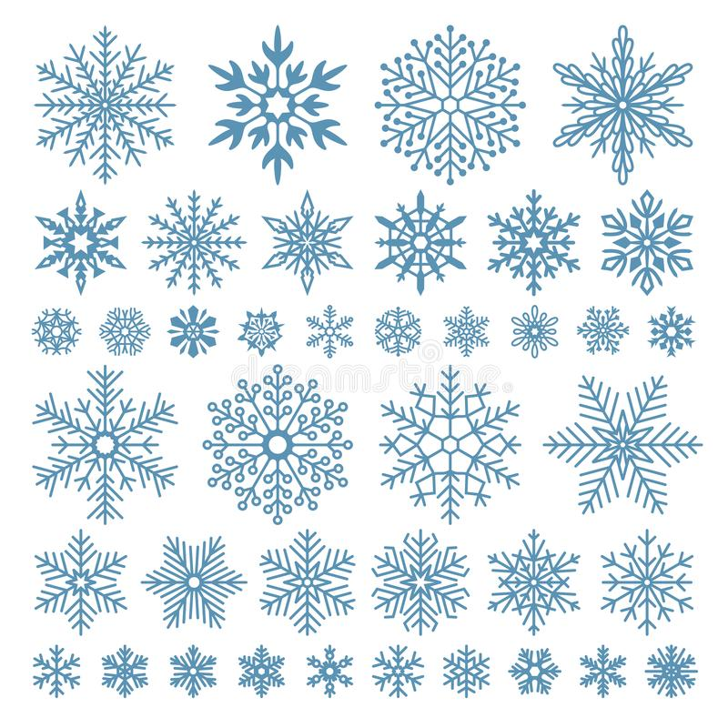 Flat snowflakes. Winter snowflake crystals, christmas snow shapes and frosted cool icon vector symbol set. Flat snowflakes. Winter snowflake crystals, christmas royalty free illustration