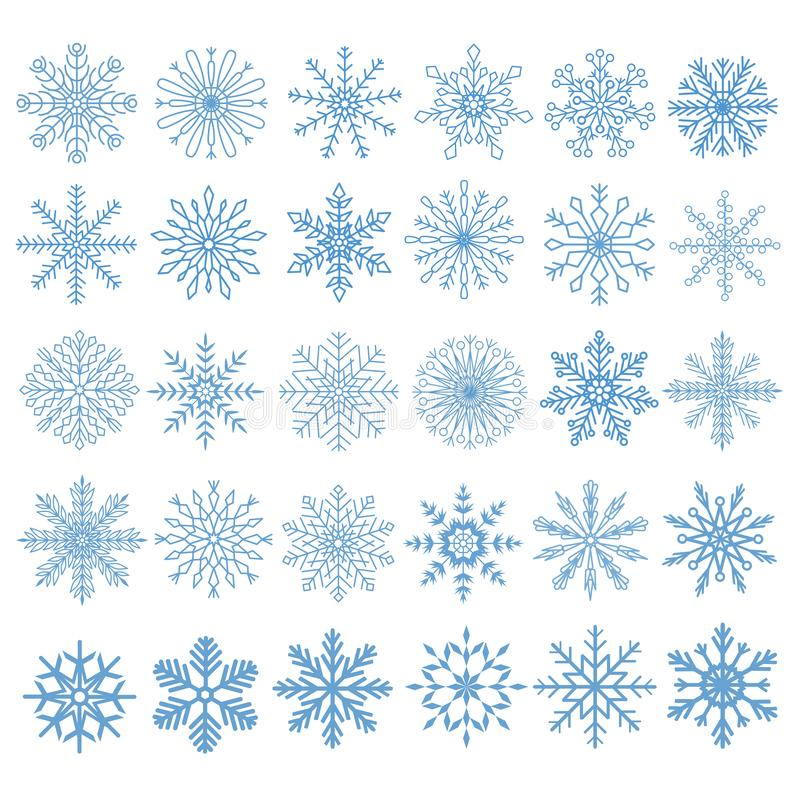 Flat snowflakes. Winter snowflake crystals, christmas snow shapes and frosted cool blue icon, cold xmas season frost snowfall stock illustration