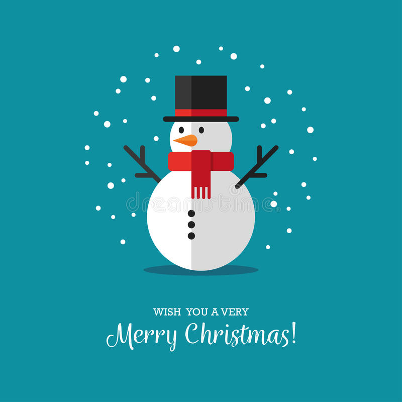 Flat snowman icon. Cute snowman illustration in flat style. Winter symbol, icon. Christmas or New Year greeting card design element royalty free illustration