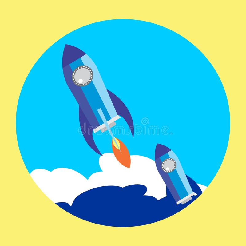 Flat Space Shuttle Rocket Circle Icon vector illustration
