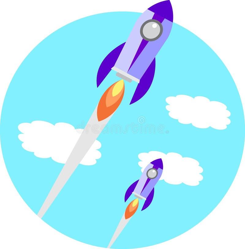 Flat Space Shuttle Rocket Circle Icon stock illustration