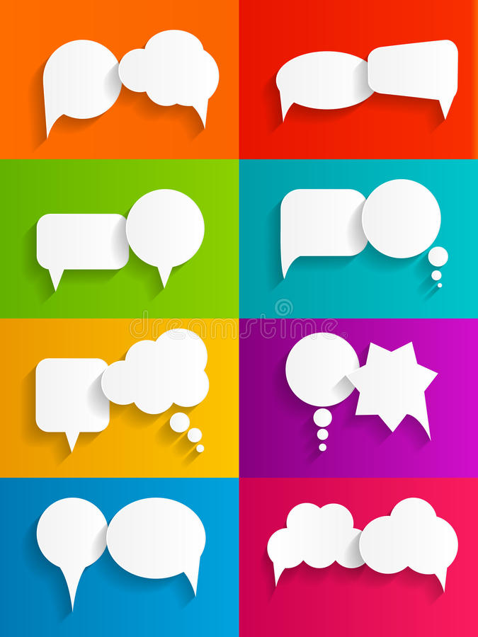 Flat Speech Bubbles with Long Shadows Vector royalty free illustration