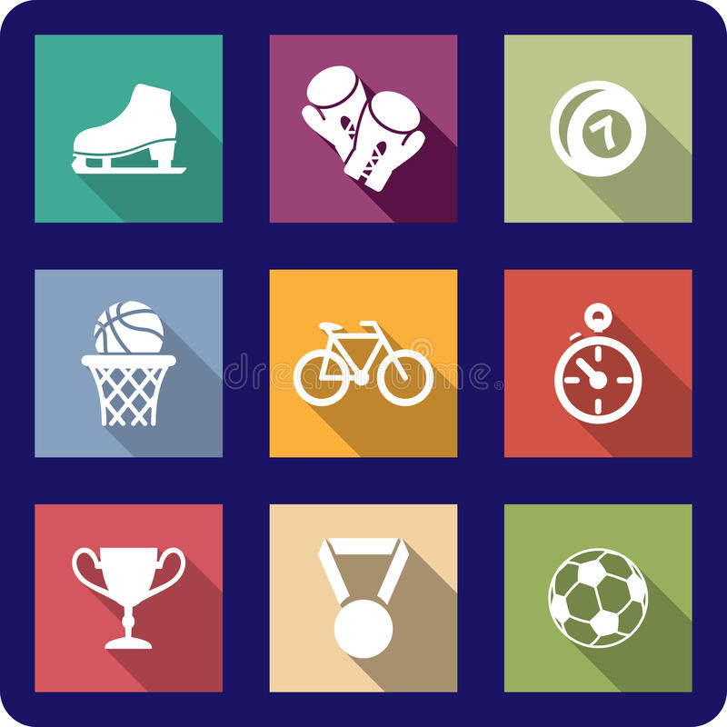Download Flat sporting icons set stock vector. Image of element - 38088789