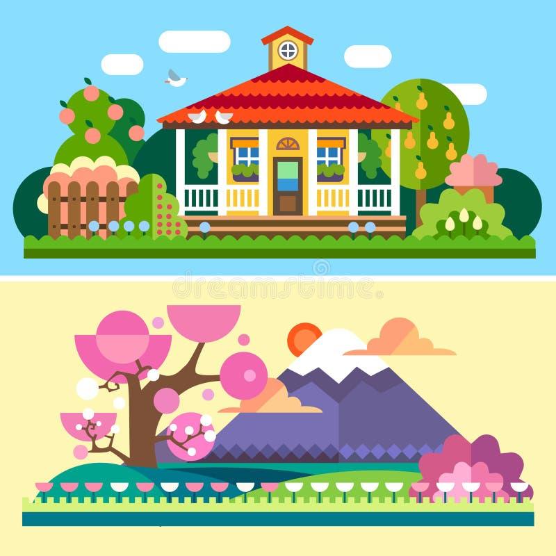 Flat spring and summer landscapes vector illustration