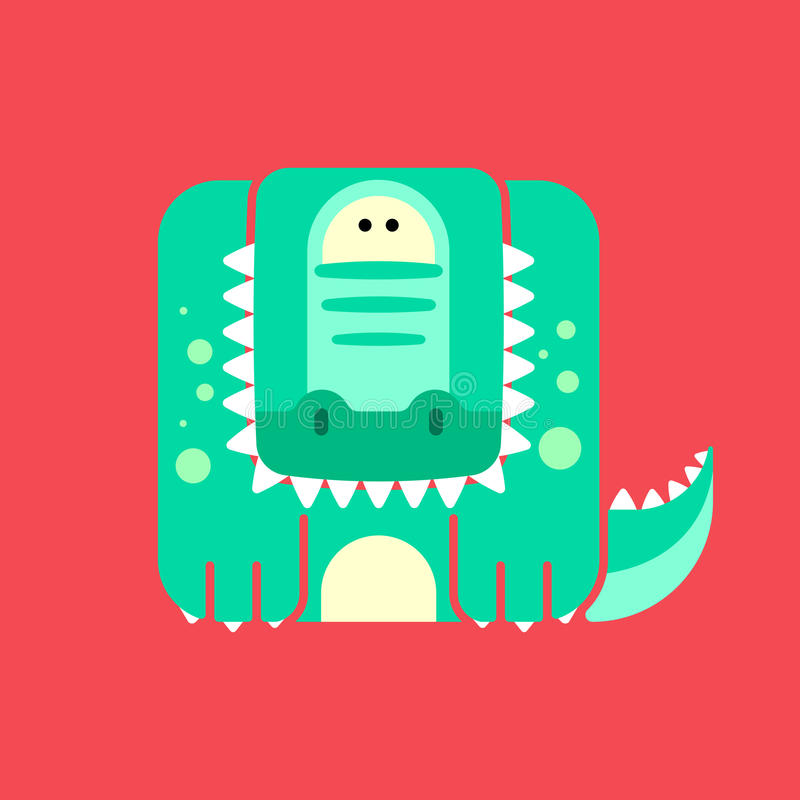 Flat square icon of a cute crocodile stock illustration
