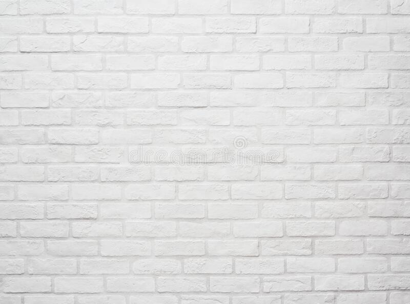 Flat stacked white brick wall. Background and Texture stock image