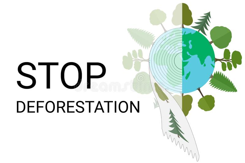 Stop deforestation. Depletion of forest resources, illegal logging. royalty free stock photo