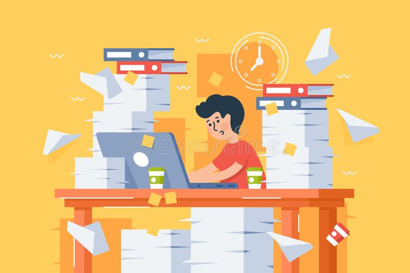 Flat stressful busy young man workload at work. vector illustration