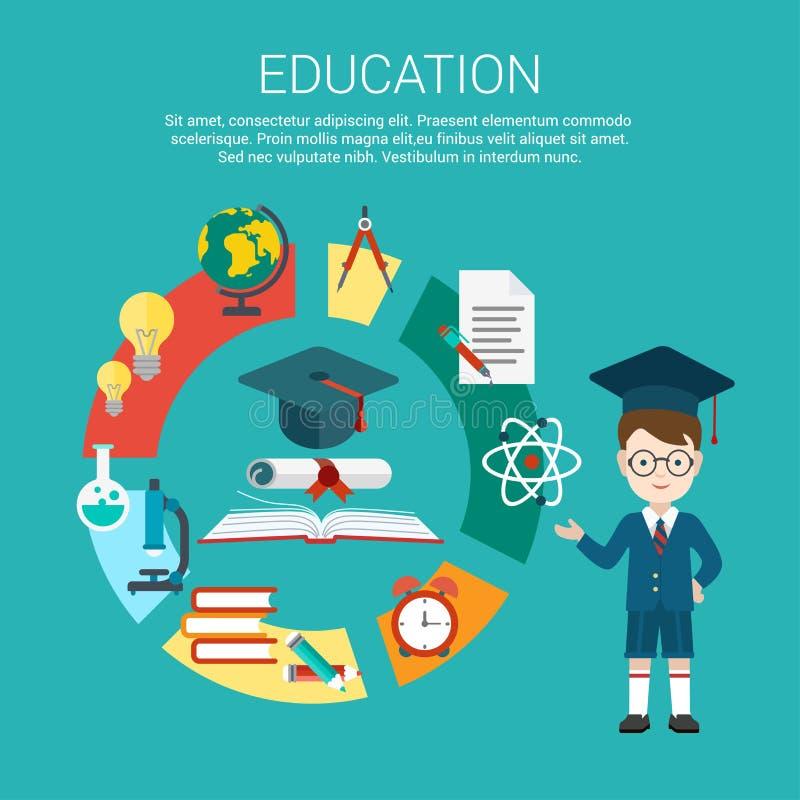 Flat student education process cycle graduation. Flat student point to education process cycle and graduation certificate achievement vector illustration vector illustration