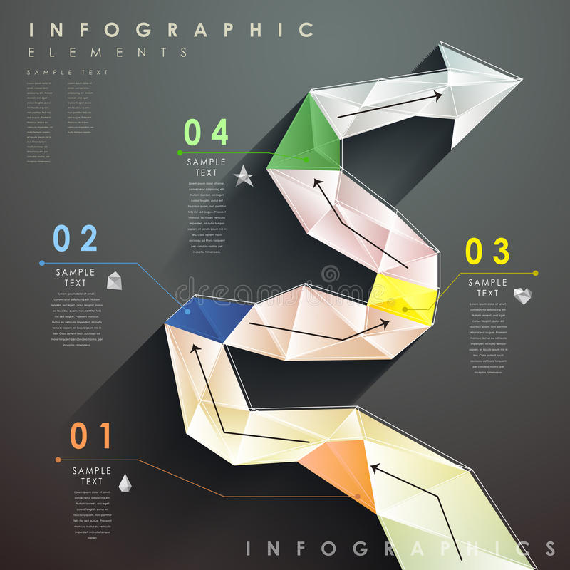 Flat style abstract flow chart infographics. Flat design vector abstract flow chart infographic elements royalty free illustration