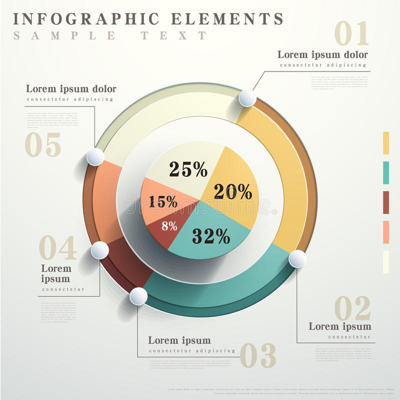 Flat style abstract pie chart infographics. Flat design vector abstract pie chart infographic elements royalty free illustration