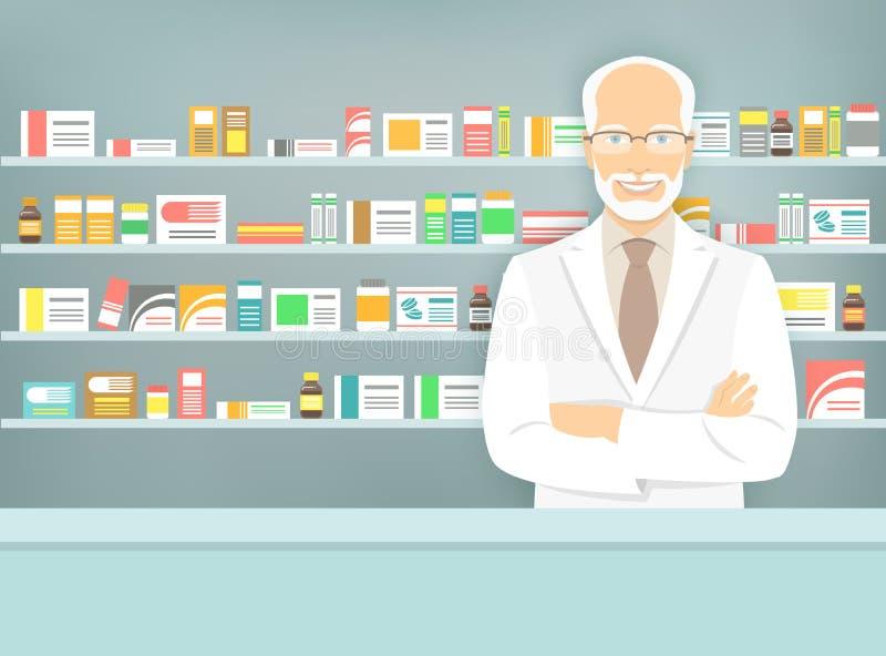 Flat style aged pharmacist at pharmacy opposite shelves of medicines stock illustration