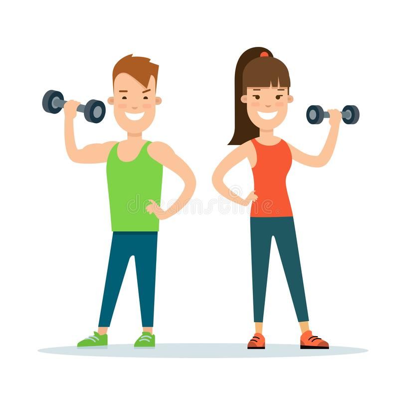 Flat Athlete workout characters . Fitness ma stock illustration