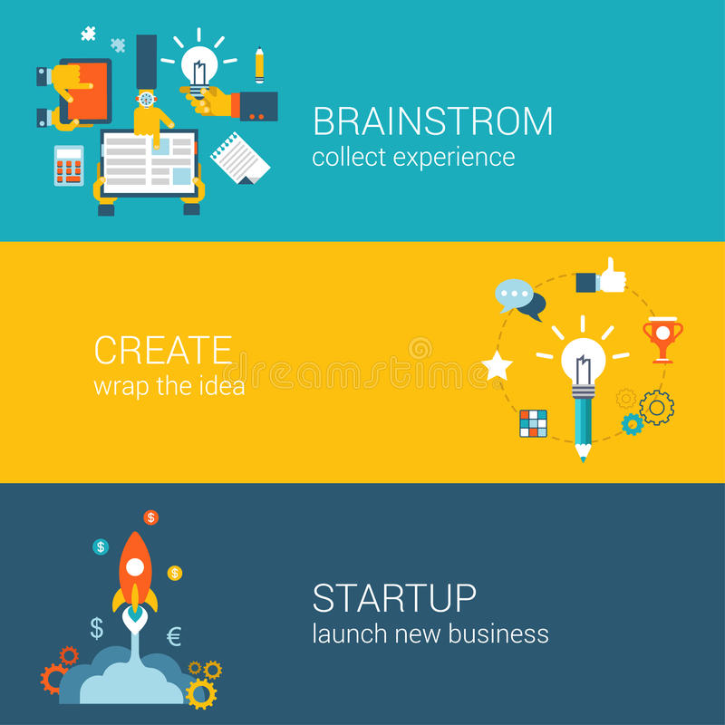 Flat style brainstorming, idea creation, startup infographic concept. Businessman hands meeting brainstorm, innovation wrap research, spaceship launch new royalty free illustration