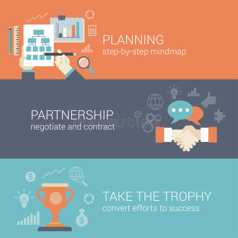 Flat style business planning, partnership and success concept. Flat style business planning, partnership and success results process infographic concept. Hand vector illustration