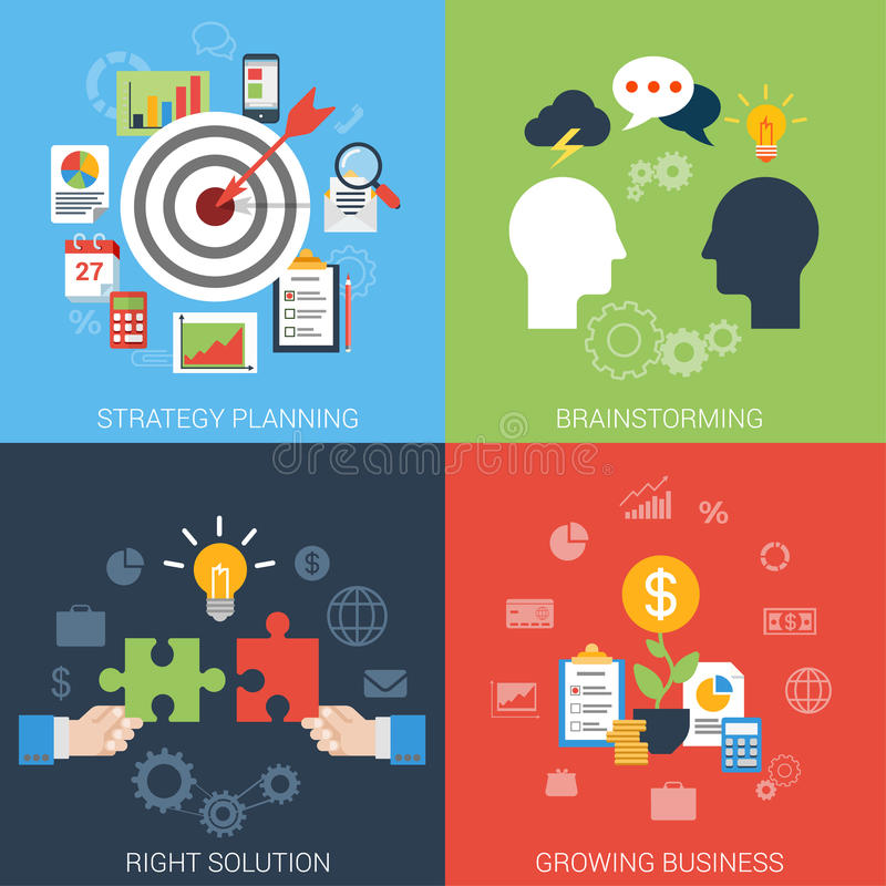 Flat style business success strategy target infographic concept royalty free illustration