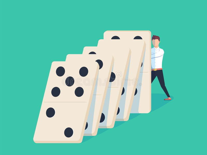 Flat style businessman trying to stop falling domino. Business crisis management and solution concept. stock illustration