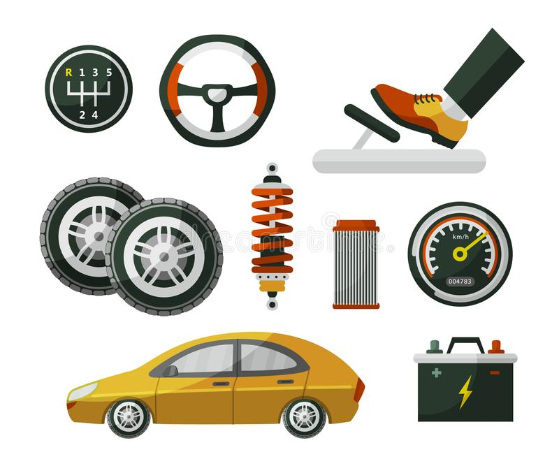 Flat style car, auto, automobile and set of parts. Car, auto, automobile and set of parts wheel, tires, pedal, speedometer, battery, air filter and shock vector illustration