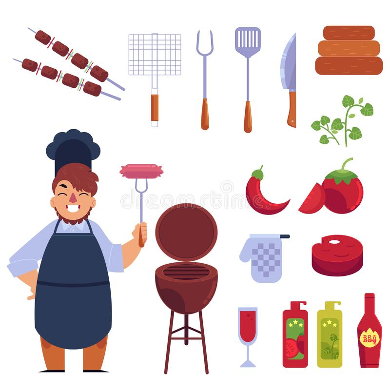 Flat style cartoon set of bbq, barbecue and funny cook stock illustration