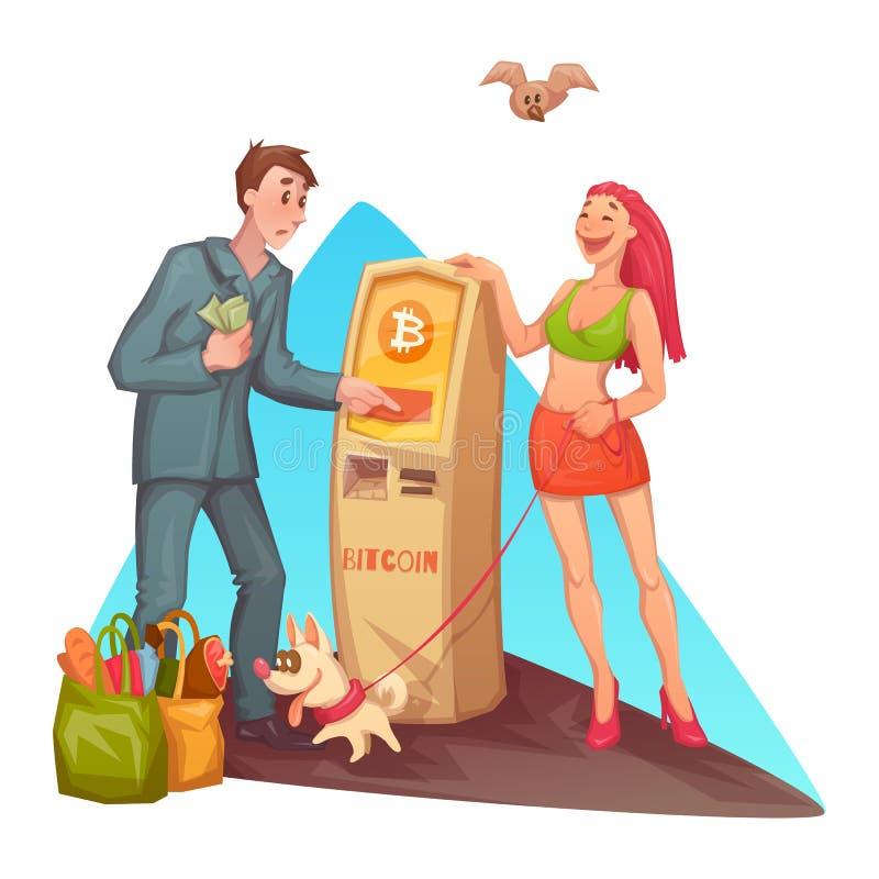 Vector cartoon man at bitcoin ATM royalty free illustration