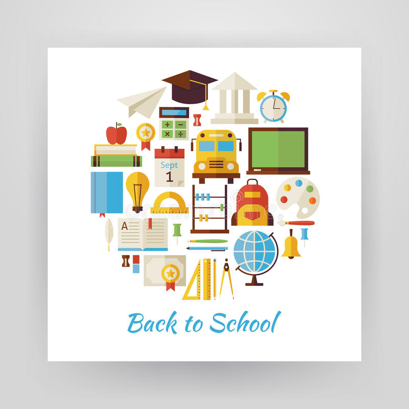 Flat Style Circle Vector Set of Back to School and Education Obj royalty free illustration