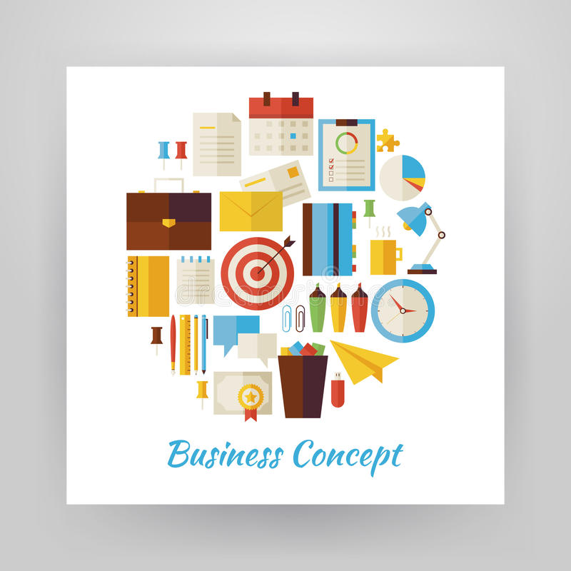 Flat Style Circle Vector Set of Business Workplace and Office Li stock illustration