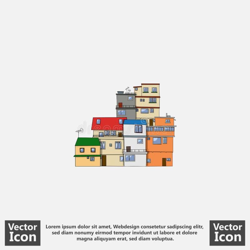 Flat style city. Flat style icon with favela houses symbol stock illustration