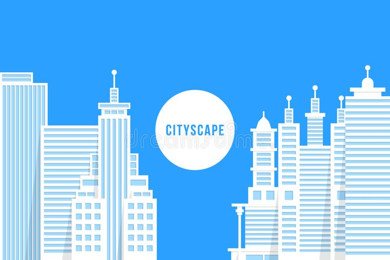 Flat style cityscape with white buildings vector illustration