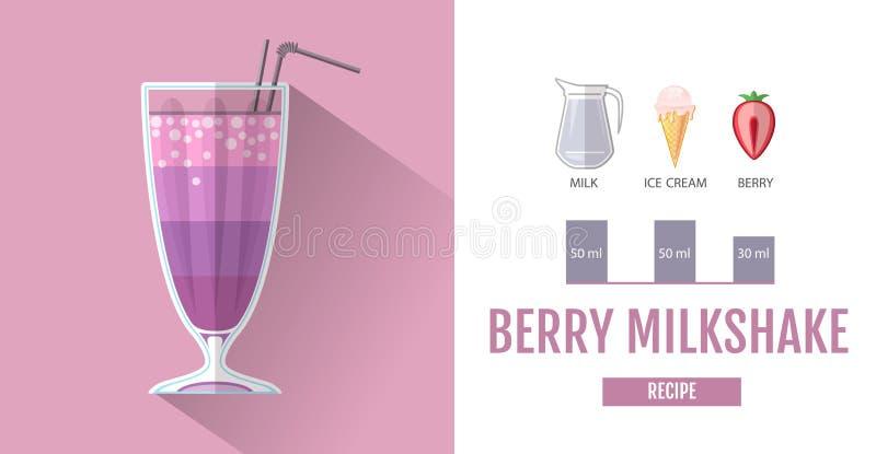 Flat style cocktail menu design. Cocktail milkshake recipe vector illustration
