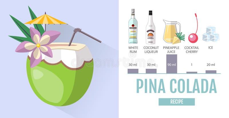 Pina Design flat style cocktail menu design cocktail pina colada recipe stock