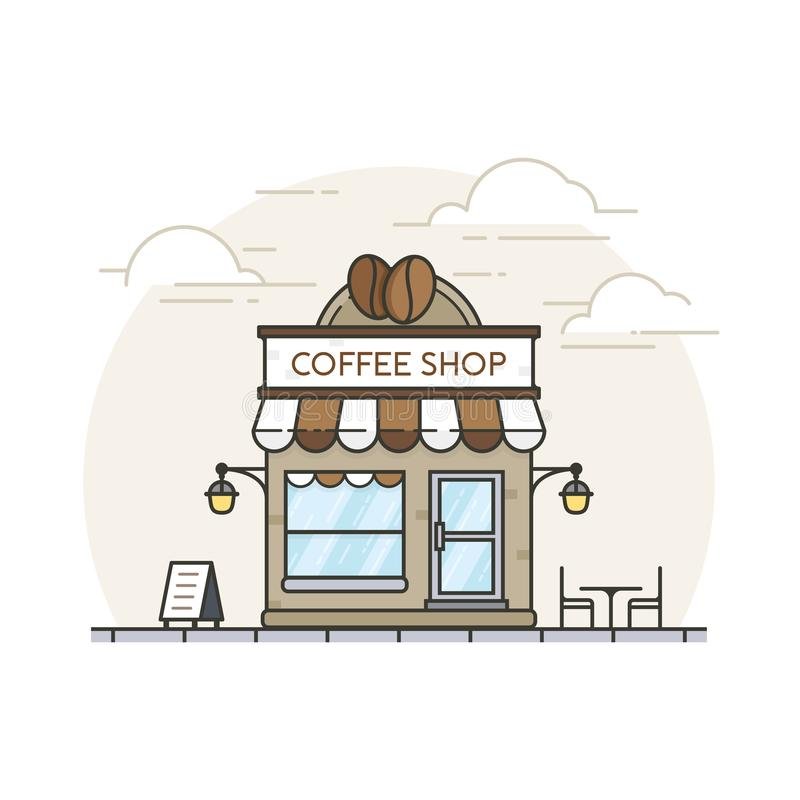Coffee shop. Flat style coffee shop building with background of silhouette city. Coffee shop store building in flat design. Coffee break shop illustration