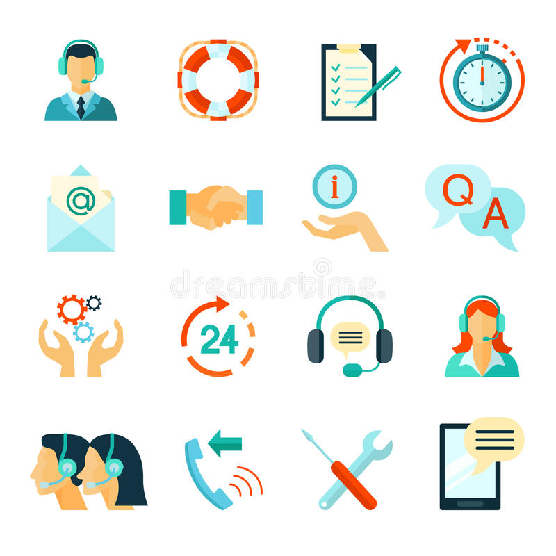 Flat Style Color Icons Of Customer Support vector illustration