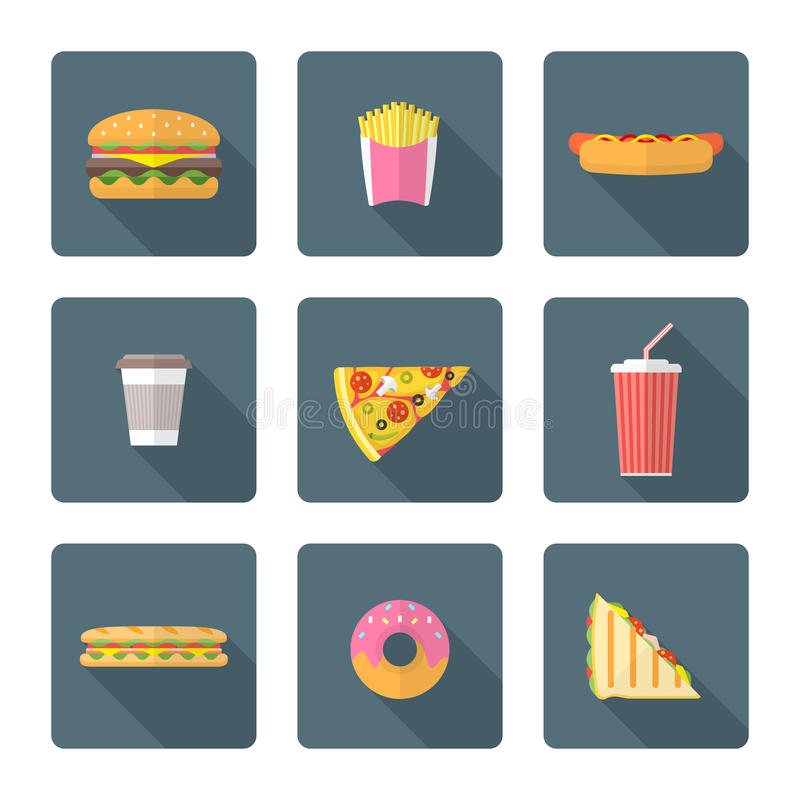 Flat style colored various fast food icons collection royalty free illustration