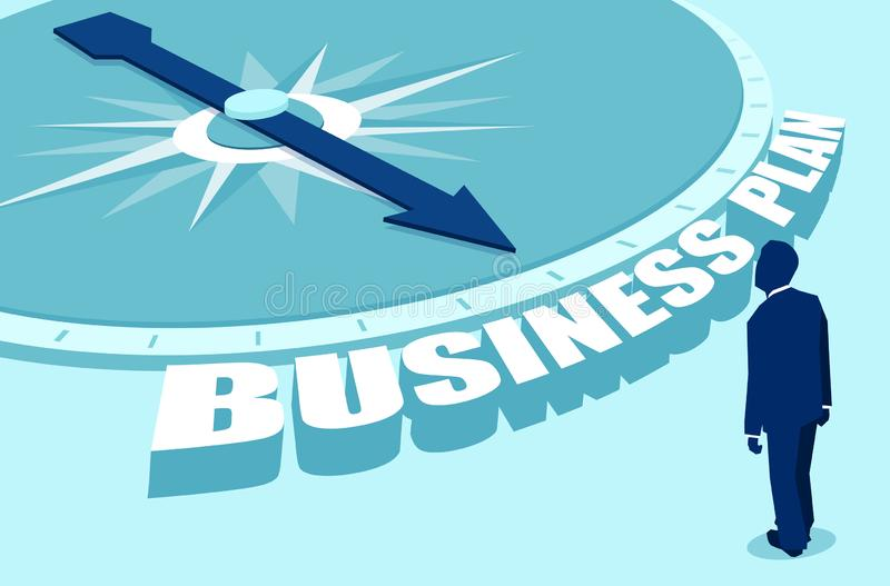 Flat style of compass showing business plan to man royalty free illustration
