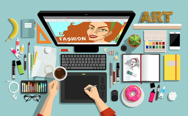 Flat Style Concept of Creative Designers Workspace. Icons Collection of Work Flow Items and Elements, Stationery and Drawing Tool royalty free illustration