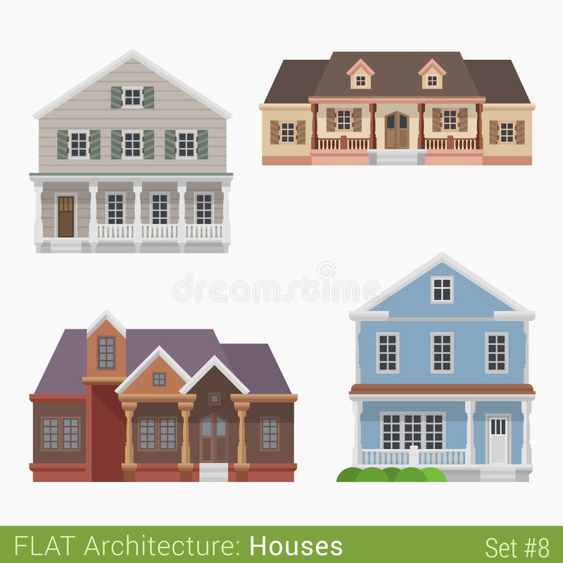 Flat style countryside cottage vector set. Flat style modern buildings countryside suburb townhouse cottage loghouse houses set. City design elements. Stylish royalty free illustration