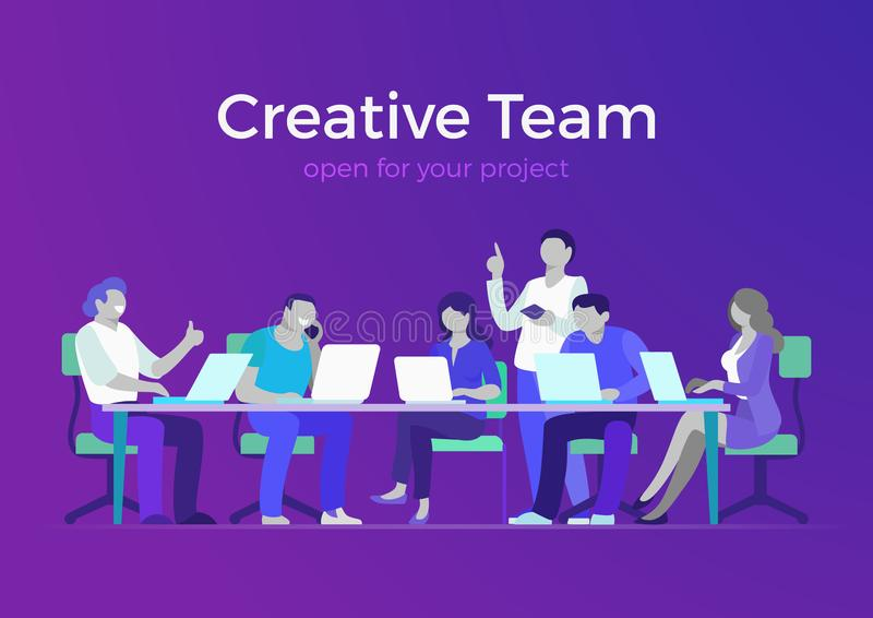 Flat creative team business meeting room report ve. Flat style creative team web infographic vector. Business meeting room, report or presentation. Group royalty free illustration