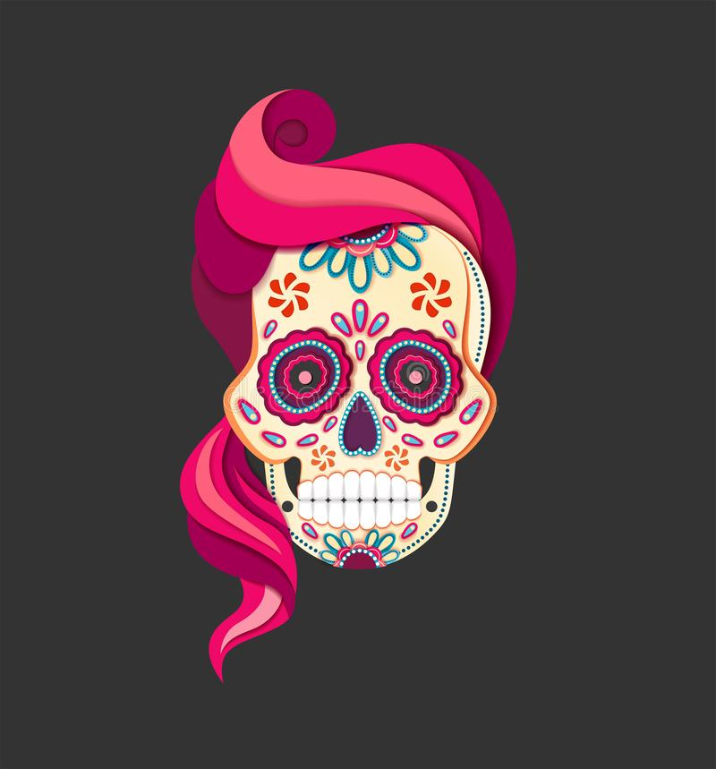 Flat style Day of the female Dead Sugar Skull with pink Hair. Paper cut Calavera. Illustration royalty free illustration