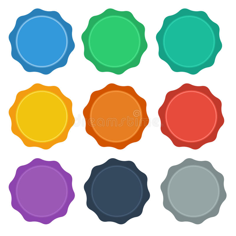 Download 9 Flat Style Design Seal / Badge Buttons Stock Image - Image: 33419499