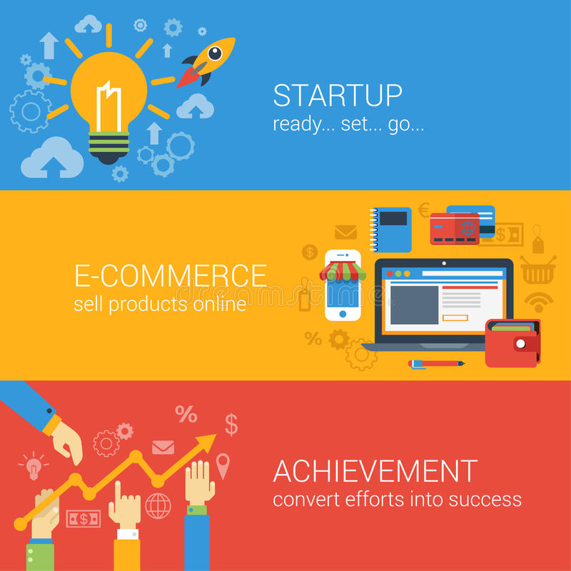 Flat style e-commerce business startup infographic concept. Start up spaceship online store income achievement result graphic web site icon banners templates