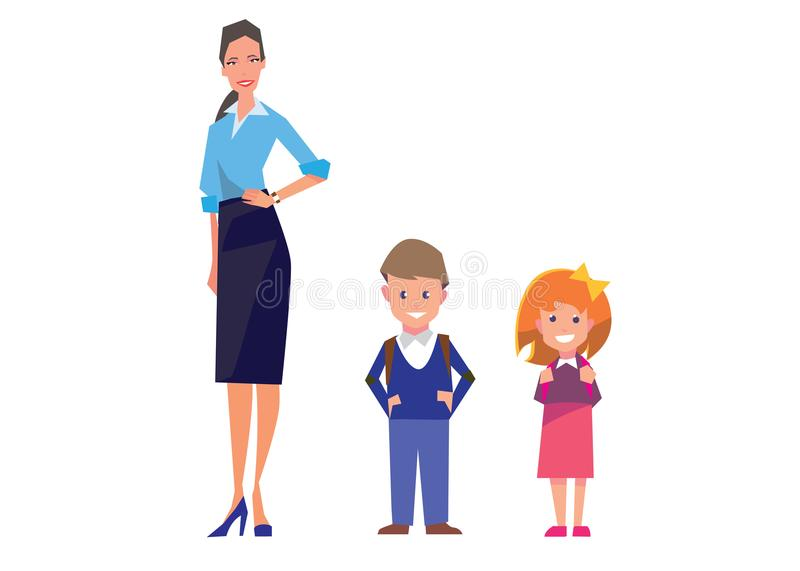 Flat style education illustration with teacher and pupils isolated on white. Vector school people collection. royalty free illustration