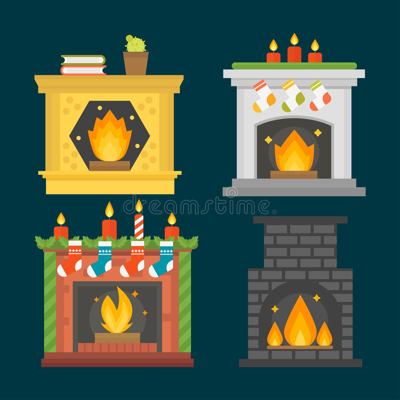 Flat style fireplace icon design house room warm christmas flame bright decoration coal furnace and comfortable warmth stock illustration